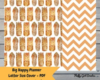 Tiki Theme Cover -Big Happy Planner- Letter Size- PDF-Instant Download