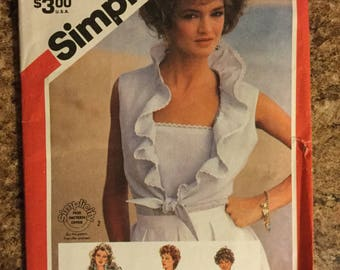 Simplicity 5996 Misses Pullover Camisole and unlined jacket. Size 10 Copyright 1983