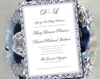"""Printable Invitation Template - Wedding Invitation Template - DIY Wedding Template """"Regalia"""" Navy Blue Silver Gray 5x7 - Instant Download"""