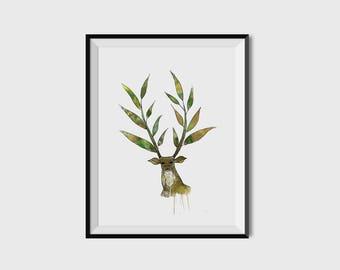Watercolor Leaf Antler Deer Artwork - Digital Print - 8x10 -11x14