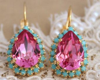 Pink Drop earrings,Swarovski Earrings Pink Earrings Bridesmaids Earrings Gift for her Bridal Pink earrings Pink Drop Earrings,Drop Earrings