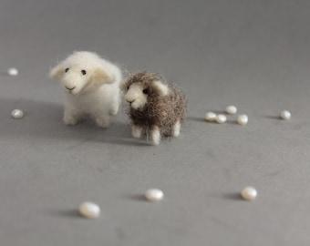 Custom order-Needle Felted Wool Animals-Two Sheep-Nativity set-needle felt-Christmas decoration-doll house miniature