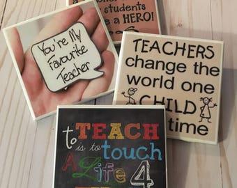 Teacher Coasters ~ Teacher Gifts ~ Ceramic Tile Coasters ~ Teacher Appreciation ~ Drink Coasters ~ Table Coasters ~ Gift for Teacher