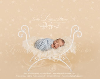 Digital backdrop - White single Iron bed chair with stars - Beautiful Digital background for Newborn Photography - Props download