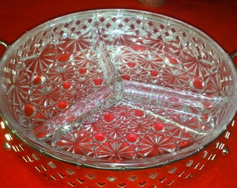 Relish Dish / Relish Bowl / Dip Bowl / Serving Bowl / Condiment Bowl / clear bowl with three sections that sets in a metal / silver base