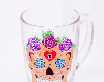 Calavera Mug, Sugar Skull Coffee Mug, Calavera Art, Dia De Muertos, Golden Sugar Skull, Unique Sugar Skull, Hand Painted Sugar Skull