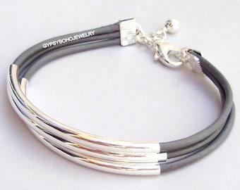 Custom LEATHER Long Silver Tube Bangle Cuff Bracelet - 3 Leather Cords Boho Leather Cuff Bracelet - Pick SIZE / COLOR -  Usa 025