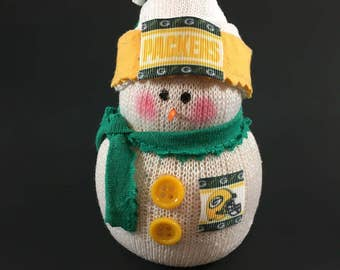 Green Bay Packers,Green Bay Packers decor,Green Bay Packers collectible,Green Bay Packers accessory,Green Bay Packers snowman,sock snowman