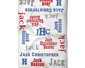 Baby Blanket Personalized Monogrammed with Baby Name in Fun Fonts and Colors Perfect Baby Shower Newborn Boy Gift