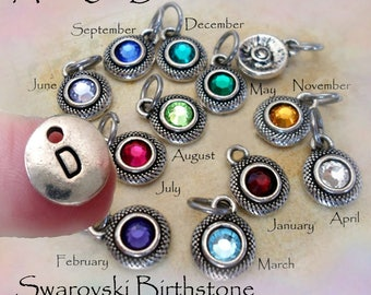Add-On Both Swarovski Birthstone Crystal and Letter Charm to any Item, Add-On Birthstone, Add-On Letter Charm, Swarovski Crystals