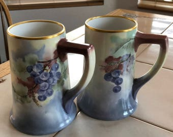 Vintage PL Limoges France Pair of Tankards/Mugs with Grapes Motif Gold Flash