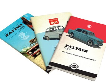 Sketchbook set, notebook set, Central european car, Zastava, Yugoslavia