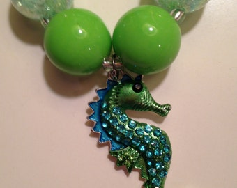 Sparkly rhinestone blue and green seahorse toddler chunky bubble gum necklace