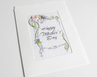 Mother's Day card, embroidered pink rose greeting card, silk ribbon card, handmade card, ribbon embroidery card