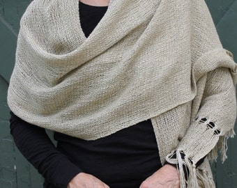 Handwoven Linen Blend Shawl/Scarf-Reduced