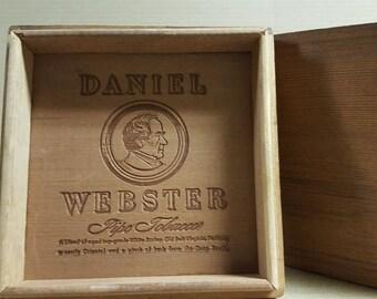 Wooden Pipe Tobacco box - Daniel Webster