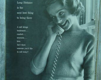Vintage Telephone advertising - Bell Telephone - Vintage advertising - Telephone - Paper Ephemera - Retro advertising - 1960s, Vintage decor