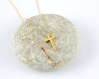 Gold dainty Cross necklace, gold filled cross faith necklace, gold necklace, minimalist necklace, baptism confirmation gift 452