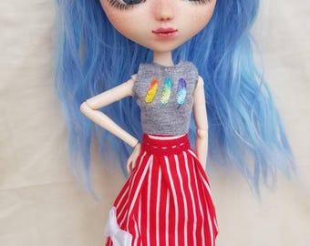 Pullip doll striped high waisted skirt