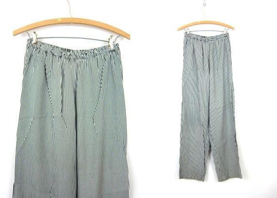 80s Lounge Pants Black and White Striped Trousers High Elastic Waist Pants Retro Long Optical Stripe Pants Womens size 13 14