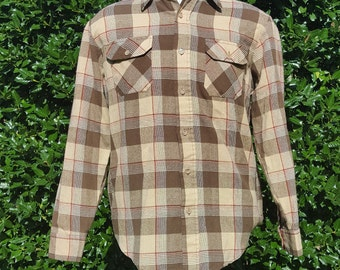 1970s Brown Plaid Sears Long sleeve Shirt