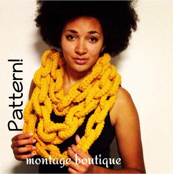 Pattern Only Crochet Chain Link Scarf 3 Lengths