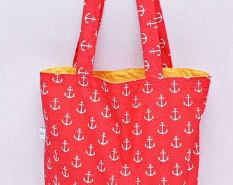 Shopping bag, anchors, Bag for grocery, sailor's bag, reusable bag, cotton bag, shopper bag, gift for him, gift for sailor tote bag red bag