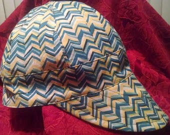 Multi-colored Pointed Print/ Solid Black Fabric Welder's Cap - 100% Cotton