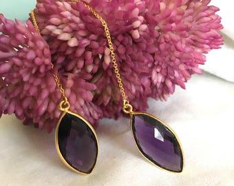 Amethyst February Birthstone gold threader earrings