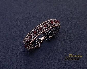 Copper wire wrapping bracelet,Wire wrapped jewelry,Swarowski and copper wire wrapp women bracelet,Women copper braided bracelet,red bracelet