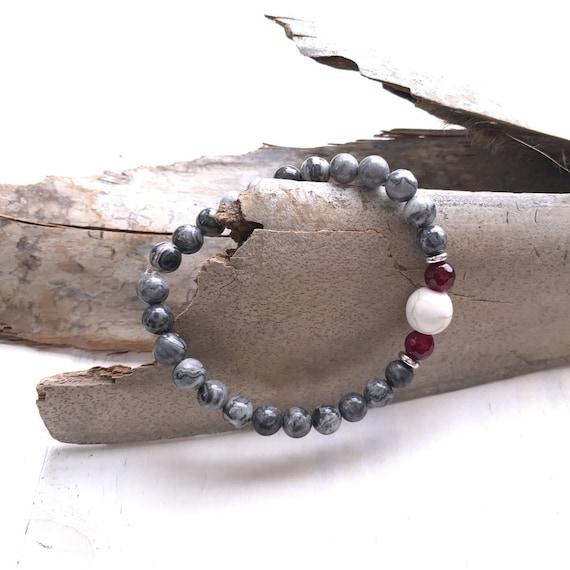 Gray Picasso Jasper Mala Bracelet,  Stretch Bracelet To Match Your Mala Beads, Yoga Style Jewelry, Boho Chic Bracelet, Bohemian Jewelry
