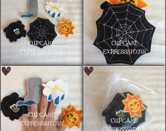 Itsy Bitsy Spider Finger Puppet Set - 5pcs - Comes with Carrying Case - Quiet Time Play Toy - Water Spout, Sun, SpiderWeb, Song Play