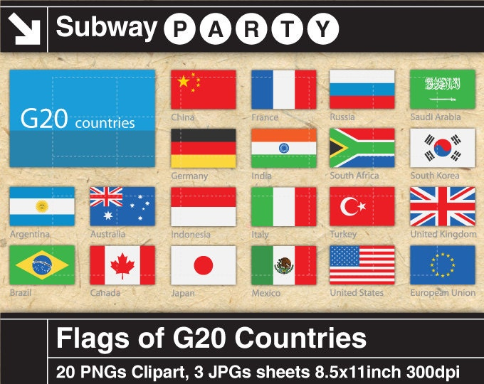 Flags Of G20 Countries Digital Clipart Printable Collage