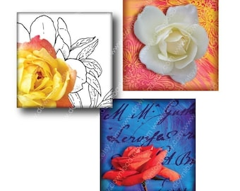 Favorite Flowers 1 inch Square Tiles, Digital Collage Sheet, Download and Print Jpeg Clip Art Images