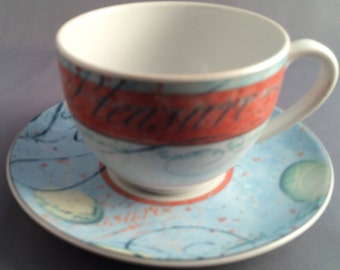 Wedgwood Variations Tea Cup and Saucer Script
