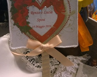 Personalized hand fan with heart and glitter