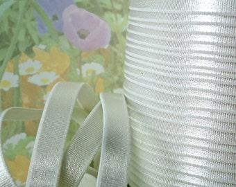 3yds Elastic Satin White 3/8 inch (10mm) Bra Strap Headband Shiny White Lingerie Stretch Elastic by the yard