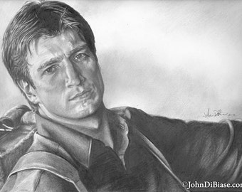 Drawing Print of Nathan Fillion as Captain Malcom Reynolds in Firefly