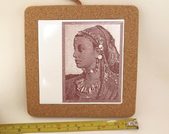 Sepia Nubian Queen Trivet Tile Kitchen Decor Gift for Chef