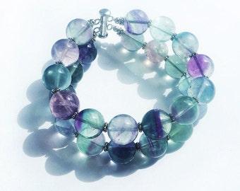 Bracelet and earrings with fluorite