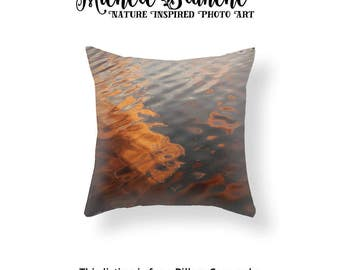 Water Ripples Pillow, Lake Sunset Photo Pillow Case, Cloud Reflections on Water Toss Pillow, Lake Sunset Throw Pillow Lake Water Pillow Case
