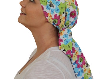 Jessica Pre-Tied Head Scarf, Women's Cancer Headwear, Chemo Scarf, Alopecia Hat, Head Wrap, Head Cover for Hair Loss - Bright Flowers