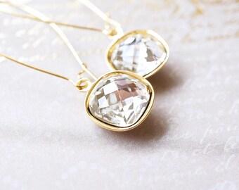 Earrings, Gold Earrings, Long Earrings, Dangle Earrings, Drop Earrings, Crystal Earrings, Cushion Cut Earrings, Swarovski Earrings, Gift