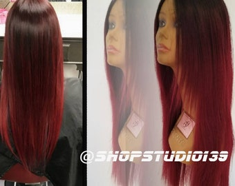 Human hair burgundy ombre lace front wig 24'