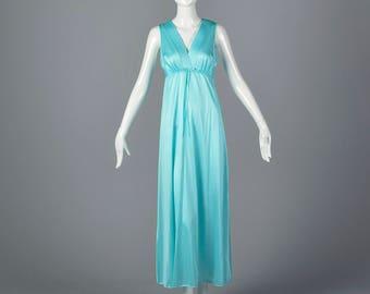 XS 1970s Teal Sleeveless Nightgown Long Nightgown Vintage Sleepwear Sleep Wear Lounge Wear Lingerie 70s Vintage