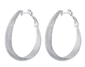 Ladies Womens Big Patterned 925 Silver Oval Hoop Earrings