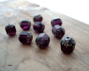 Purple Window Glass Beads - 8x9mm - Quantity of 9 - Czech Glass Faceted Rounds DIY Beading Fall Fashion Winter Fashion