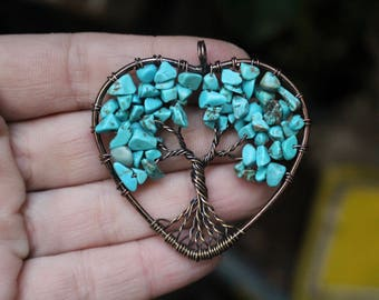 Tree of Life Necklace, Turquoise Necklace, Wire Wrapped Tree of Life, Chakra Stone, Boho Necklace, Mother's Day Gift