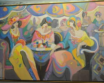 Acrylic on Canvas Original Unique Art Painting Signed by Isaac Maimon Le Paris Café