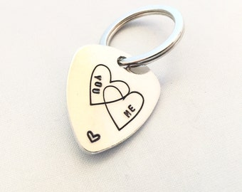 Personalised Guitar Pick key ring, Custom key ring, Hand Stamped key chain, Music, Men, Gift for Him, stamped plectrum. customize.